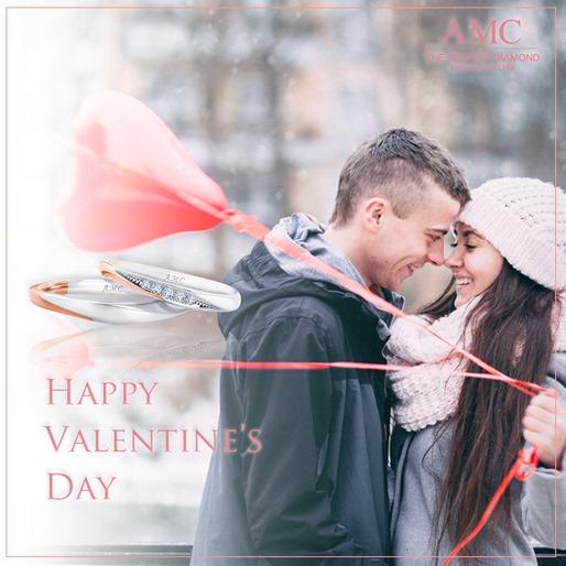 AMC鑽石婚戒情人節禮物橫幅玫瑰金對戒LINE.FB.IG.手機板橫幅